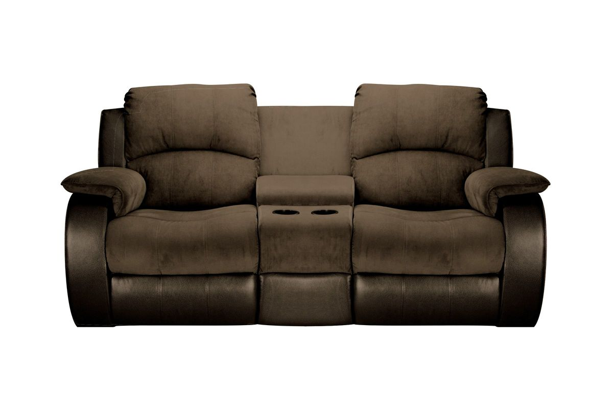 Lorenzo Microfiber Reclining Loveseat With Console At