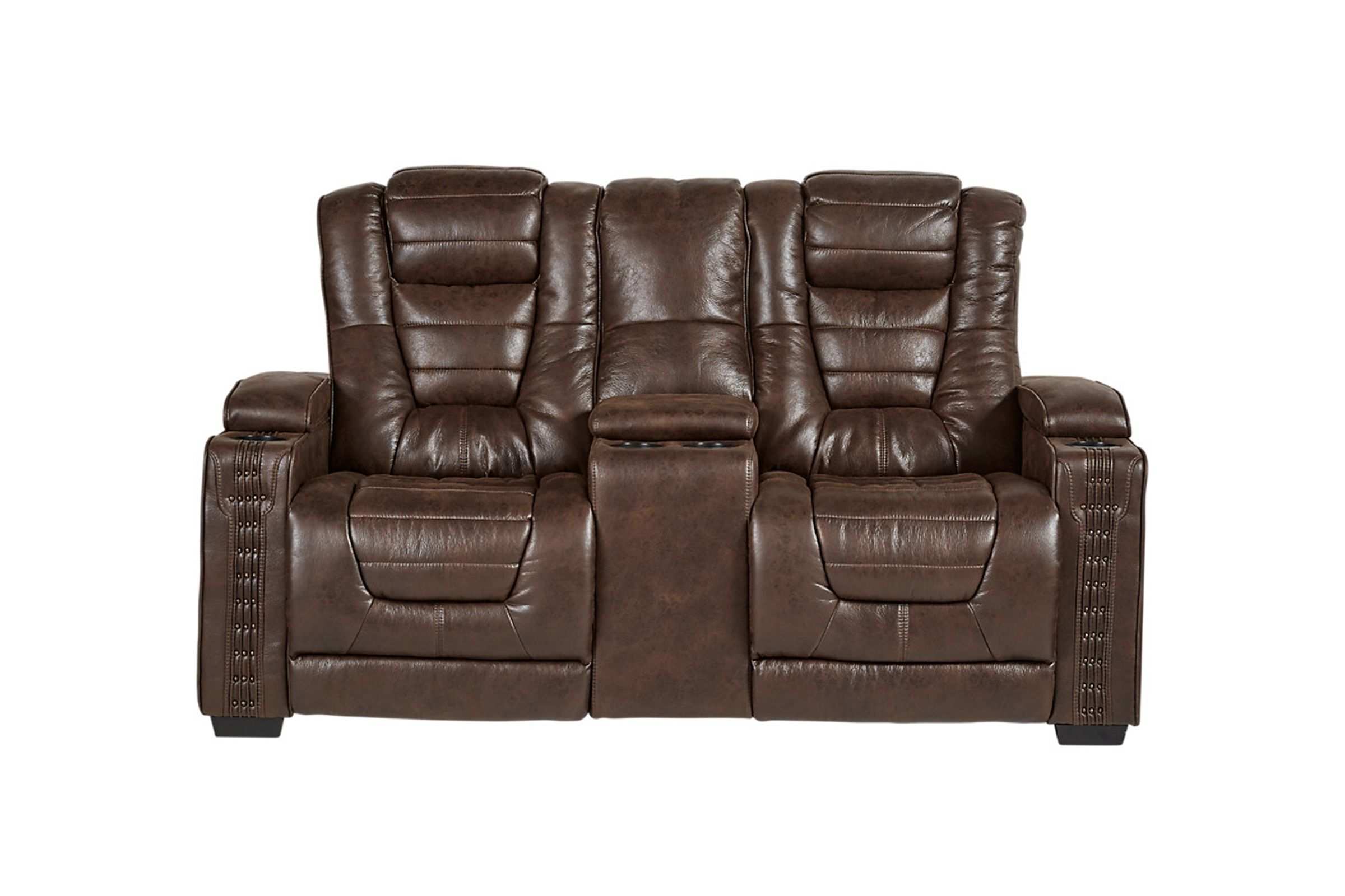 Wondrous Highway To Home Power Reclining Microfiber Loveseat With Console Creativecarmelina Interior Chair Design Creativecarmelinacom