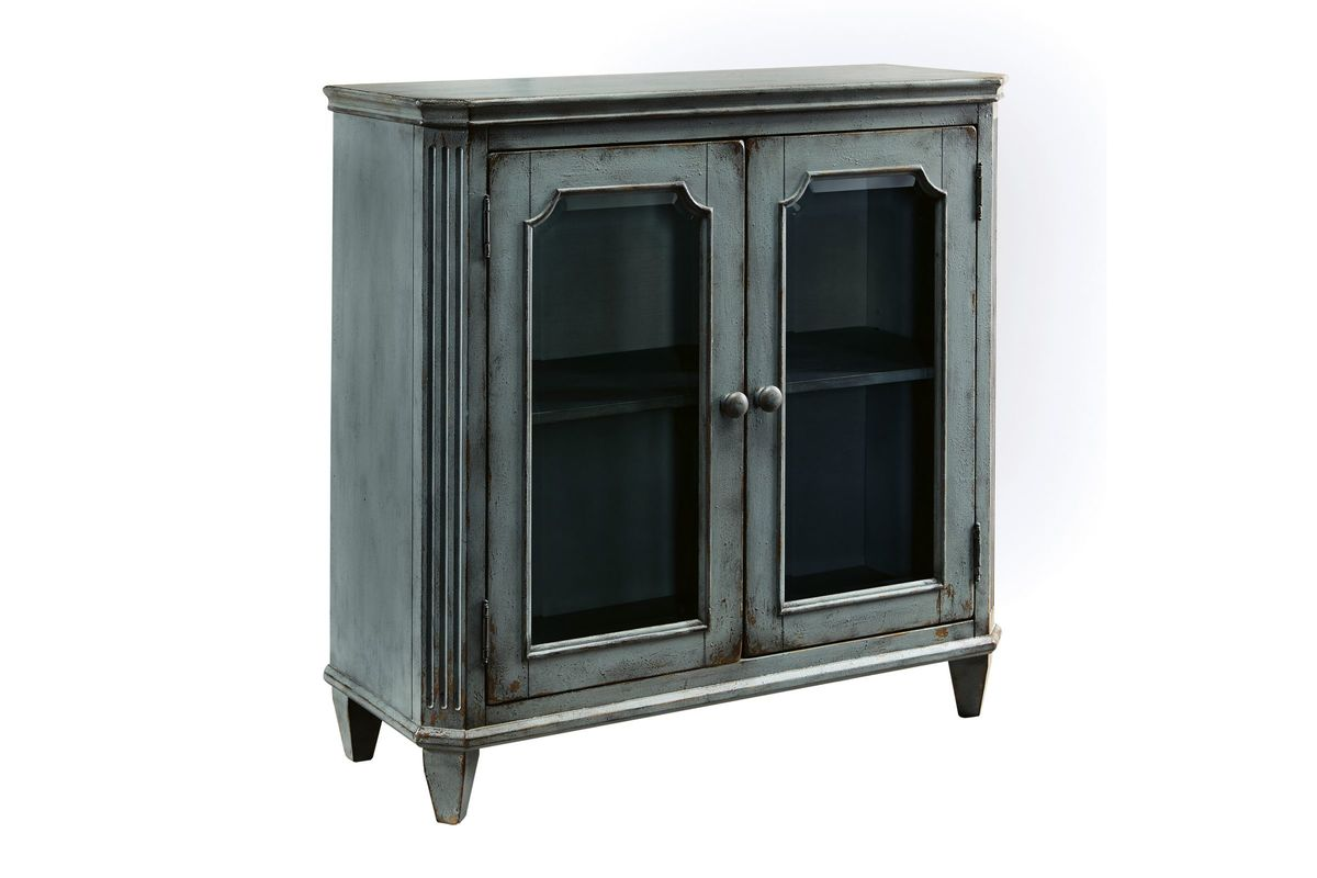 Mirimyn Door Accent Cabinet in Antique Teal by Ashley from Gardner-White Furniture