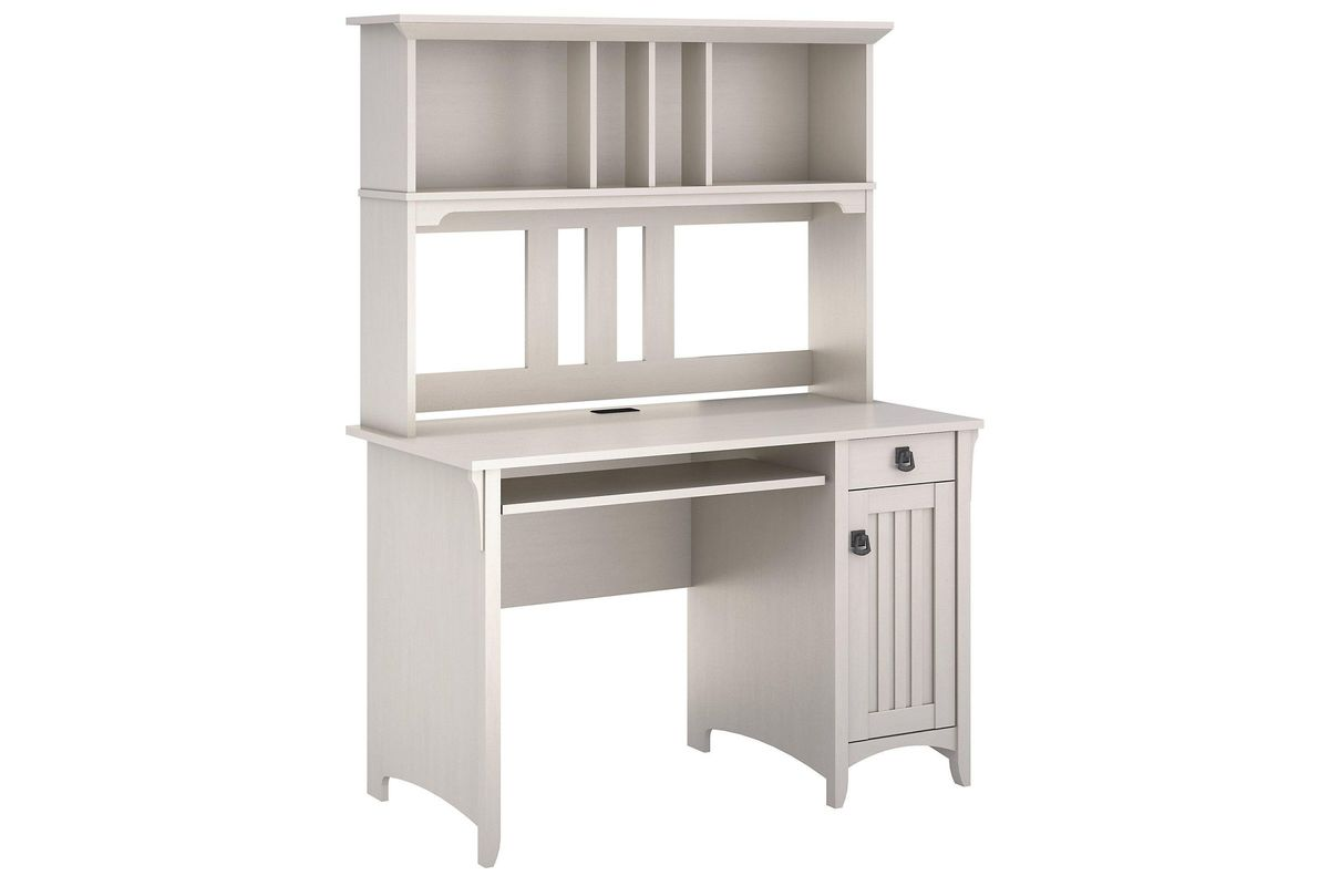 Salinas Mission Style Desk With Hutch In Antique White By Bush From Gardner Furniture