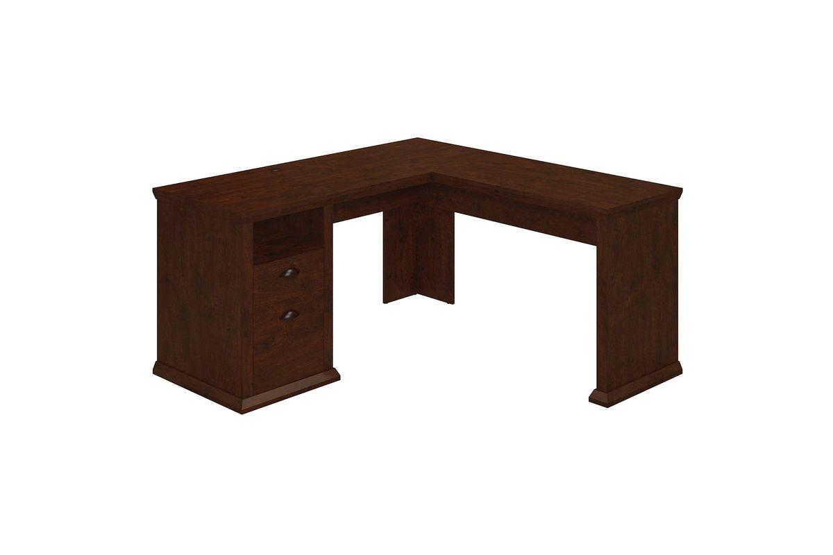 Yorktown L-Shaped Desk in Antique Cherry by Bush from Gardner-White  Furniture - Yorktown L-Shaped Desk In Antique Cherry By Bush At Gardner-White