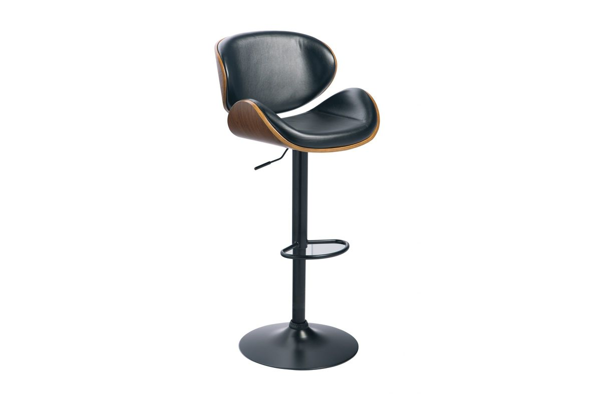 Sensational Bellatier Black Faux Leather And Walnut Adjustable Swivel Barstool By Ashley Caraccident5 Cool Chair Designs And Ideas Caraccident5Info