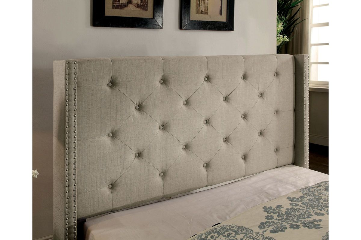 Valencia Tufted Fabric Twin Wingback Headboard Bed In Grey