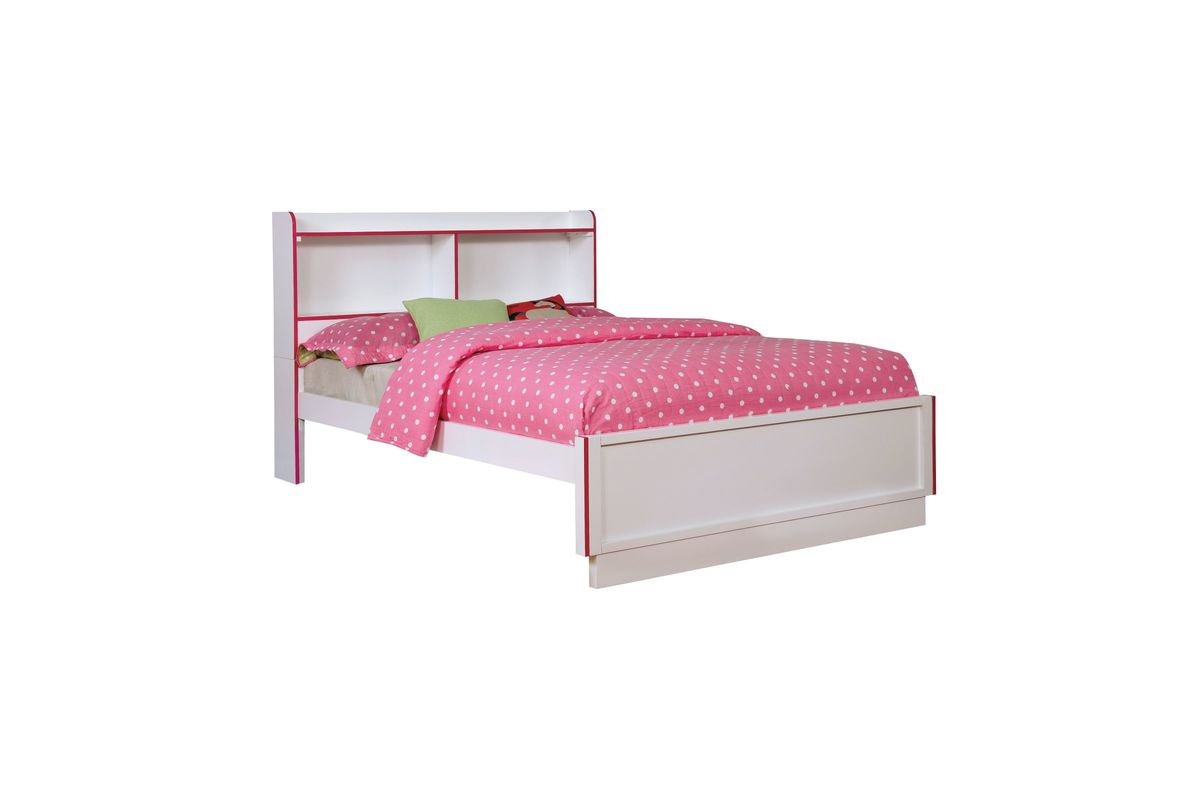 Allister Two Tone Full Size Youth Bed With Built In Bookcase Headboard In Pink And White