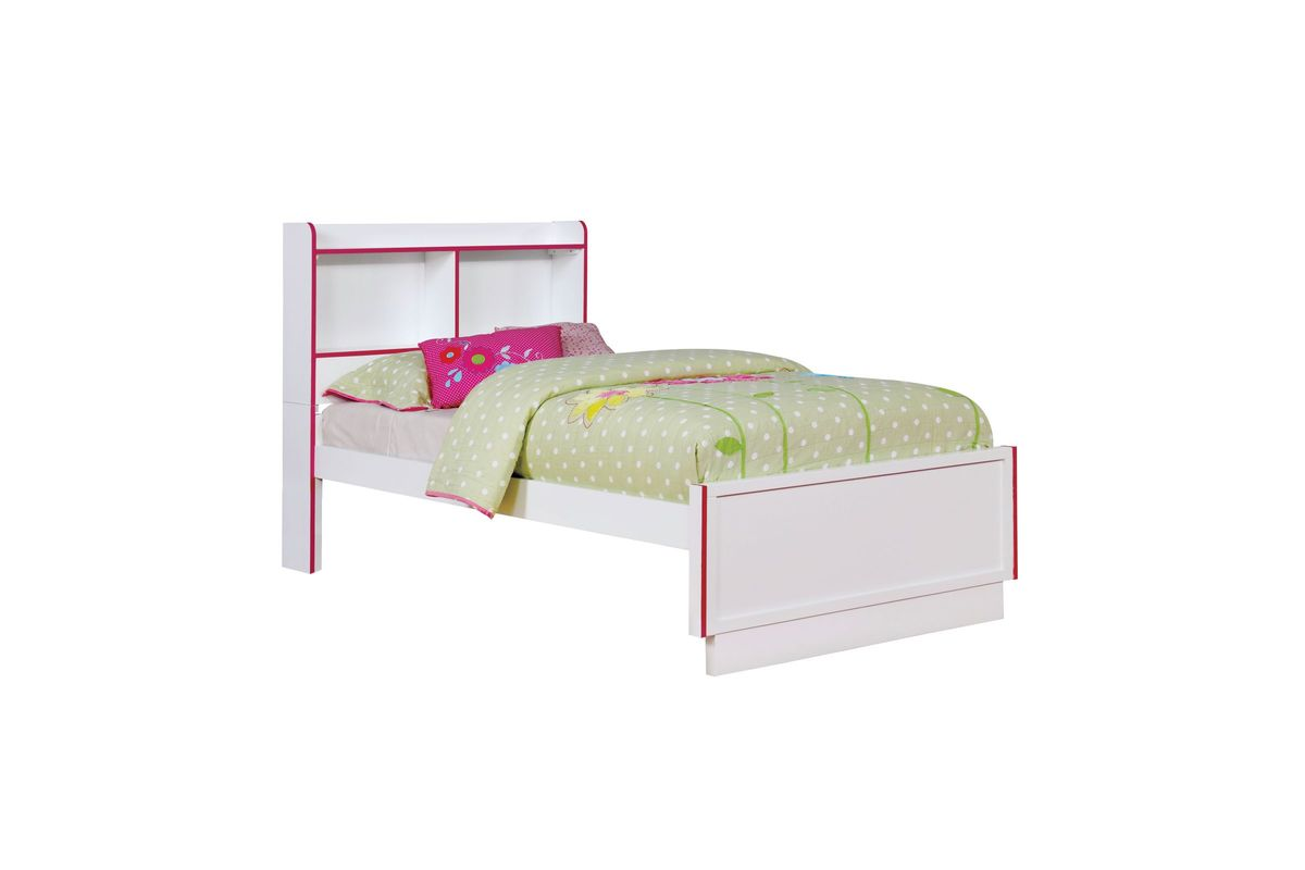 Allister Two Tone Twin Size Youth Bed With Built In Bookcase Headboard In Pink And White