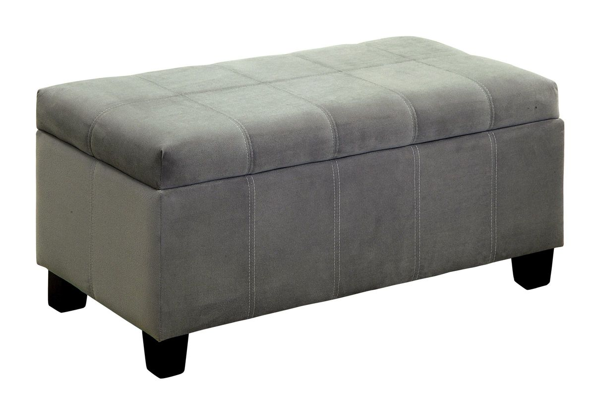 Awesome Suki Flannelette Storage Ottoman Bench In Grey Machost Co Dining Chair Design Ideas Machostcouk
