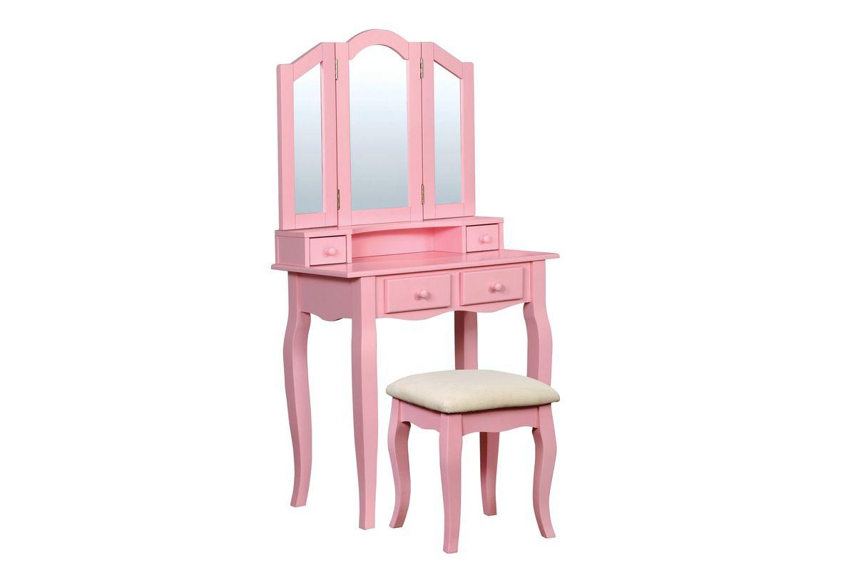 Mariah Tri Fold Mirror Youth Vanity Set In Pink From Gardner White Furniture