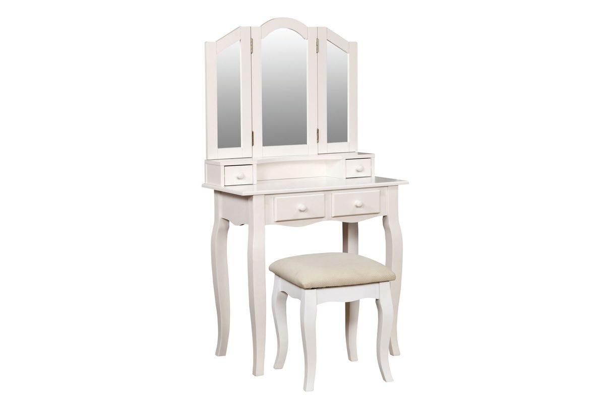 Mariah Tri Fold Mirror Youth Vanity Set In White From Gardner Furniture