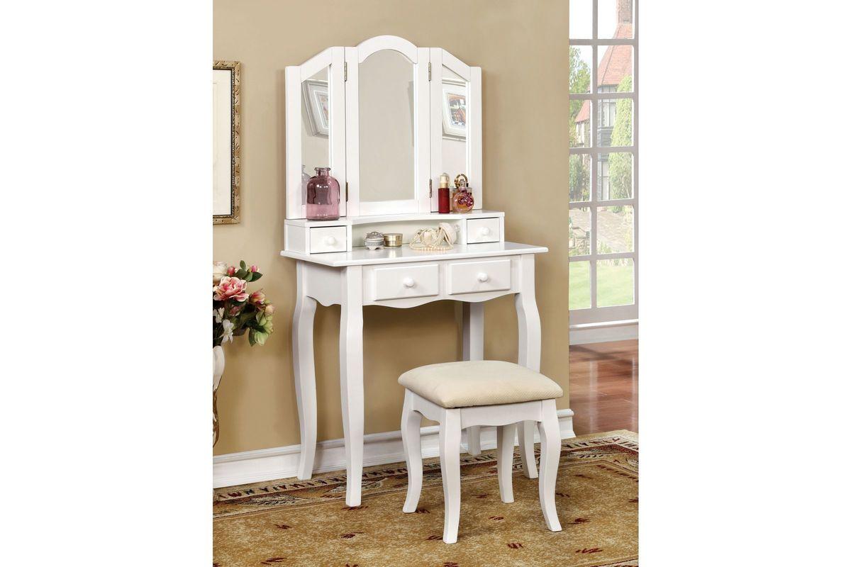 Mariah Tri Fold Mirror Youth Vanity Set In White At