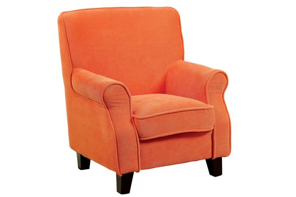 Callia Rolled Arm Youth Accent Chair In Orange Save $50 Online Only $209.99  + Free Shipping