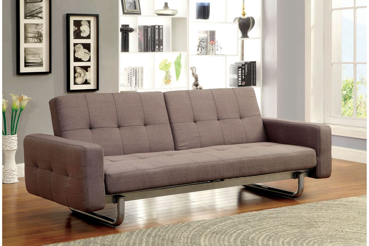 Della Split Back Fabric Futon With Removable Armrests At