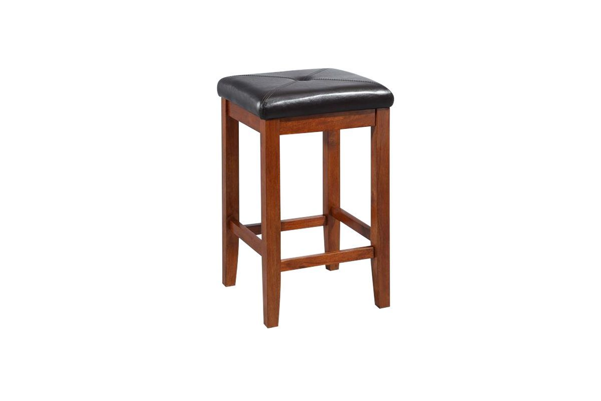 Upholstered Square Seat Bar Stool In Classic Cherry With 24 Inch