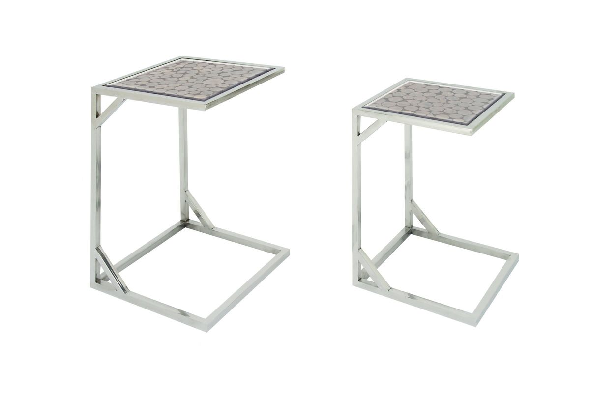 Modern Reflections L Shaped Accent Tables Set Of 2 In Beige