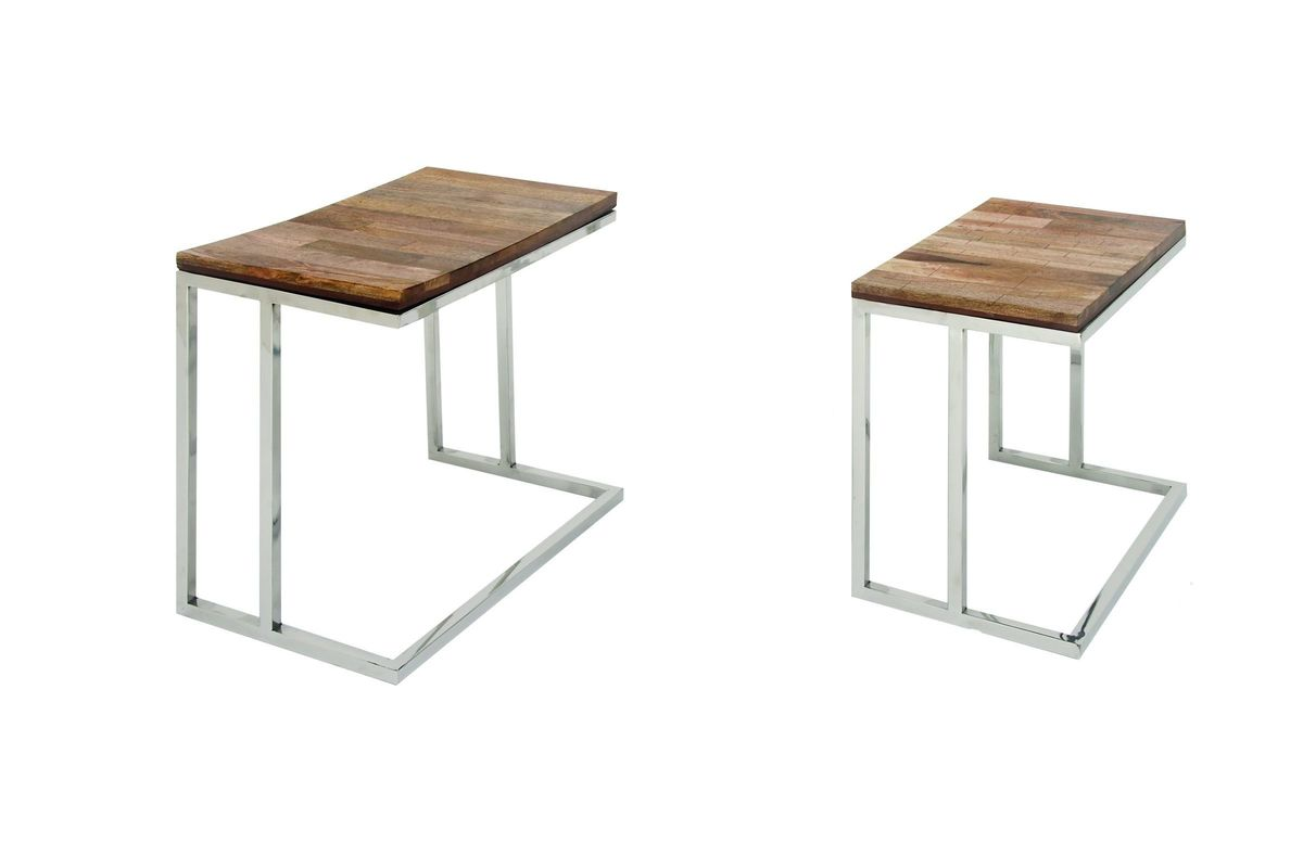 Modern Reflections L Shaped Accent Tables Set Of 2 In Natural