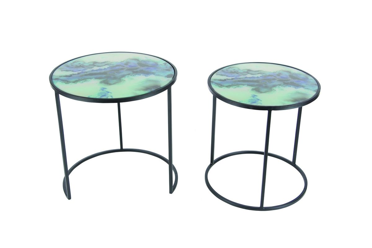 Modern Reflections Marble Accent Table (Set of 2) in Black/Blue by UMA