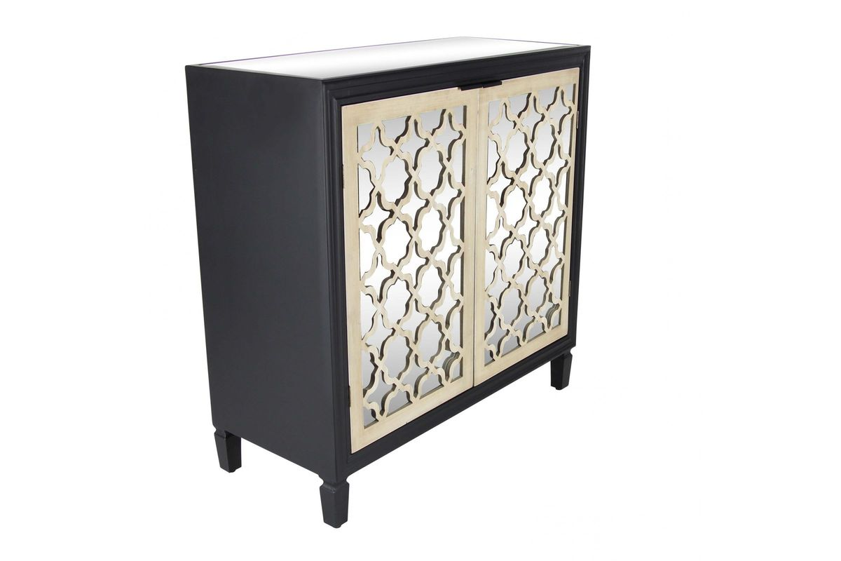 Modern Reflections Mirrored Cabinet In Matte Black From Gardner White  Furniture
