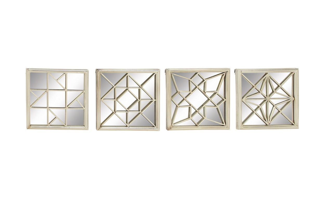 Modern Reflections Square Geometric Wall Mirrors Set Of 4 In Silver By Uma From