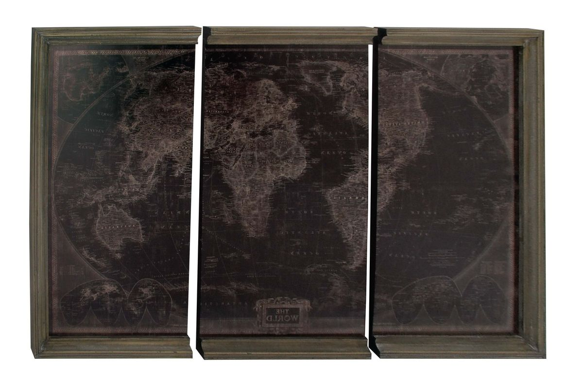 Modern Reflections World Map Wall Panels (Set of 3) in Dark Brown from Gardner-White Furniture