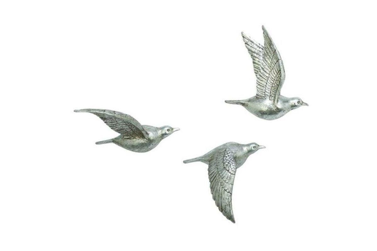 Natural Reflections Flying Bird Wall Decor Set Of 3 At