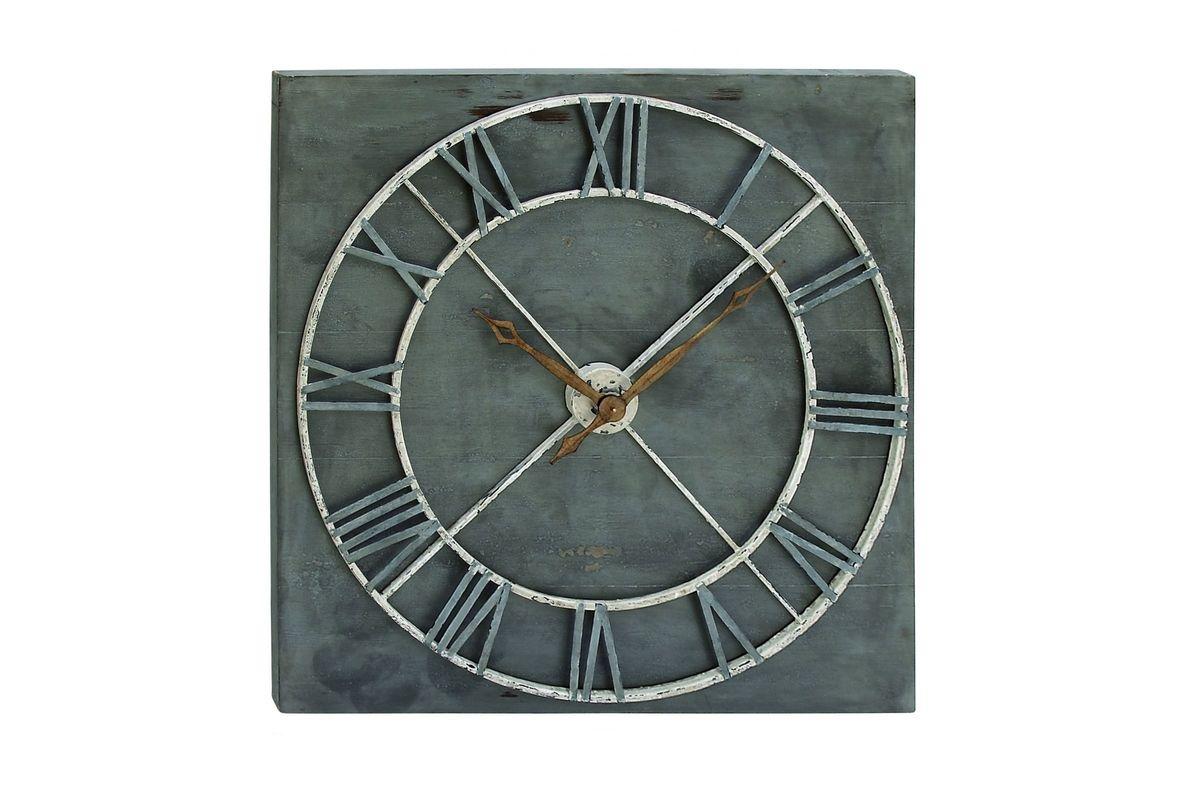 Rustic Reflections Wall Decor Clock In Dark Grey At