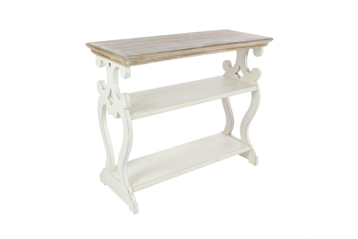 white sofa cover with wooden table | Rustic Reflections Wood Console Table in White at Gardner ...