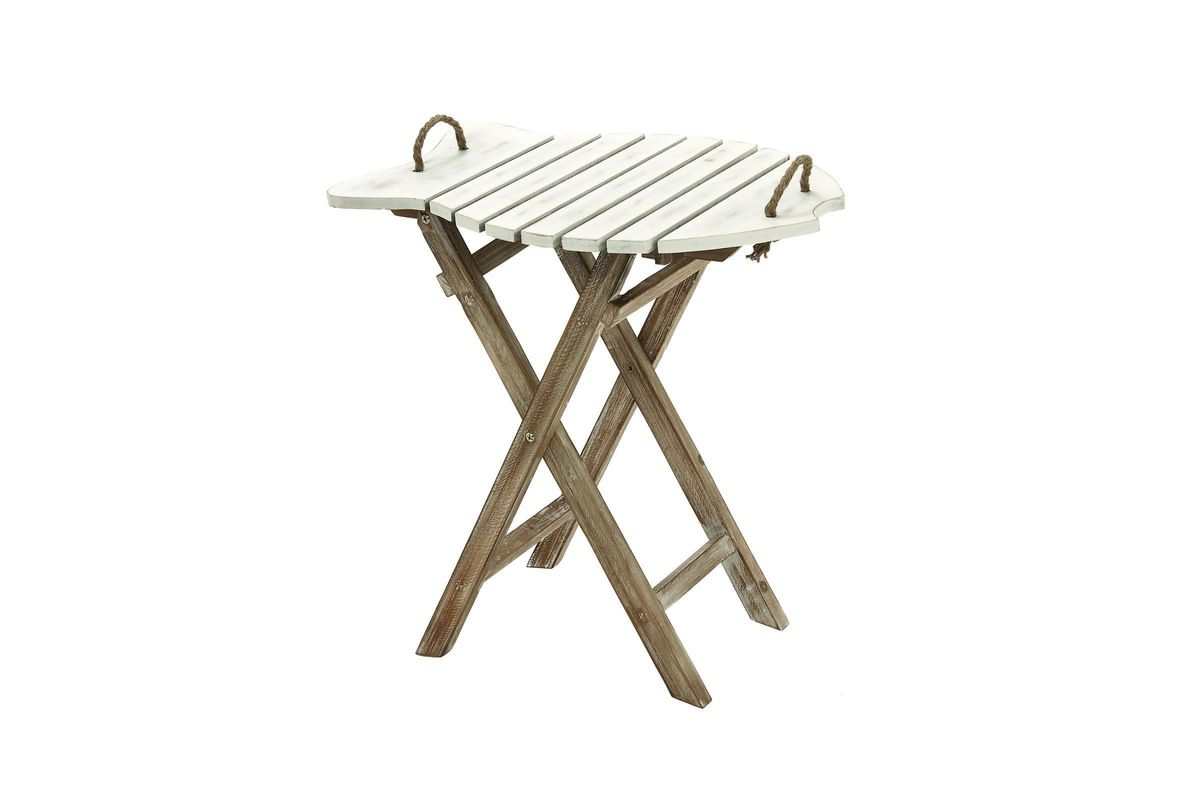 Rustic Wooden Nautical Fish Folding Side Table From Gardner White Furniture