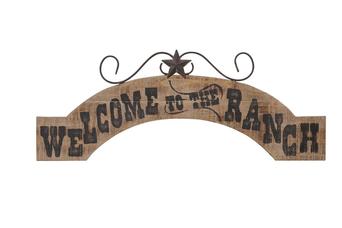 Western Reflections Welcome to the Ranch Arched Wall Decor in Scratched Oak from Gardner-White Furniture