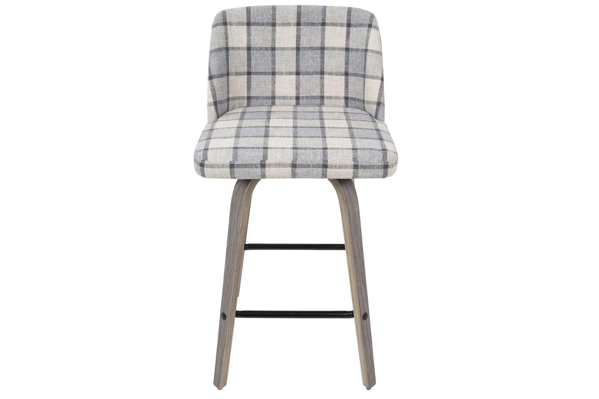 Sensational Toriano Mid Century Modern Counter Stool In Grey Plaid By Lumisource Squirreltailoven Fun Painted Chair Ideas Images Squirreltailovenorg