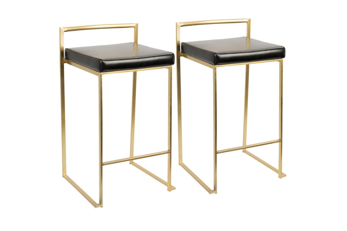 Fuji Contemporary Counter Stools Set Of 2 In Gold And