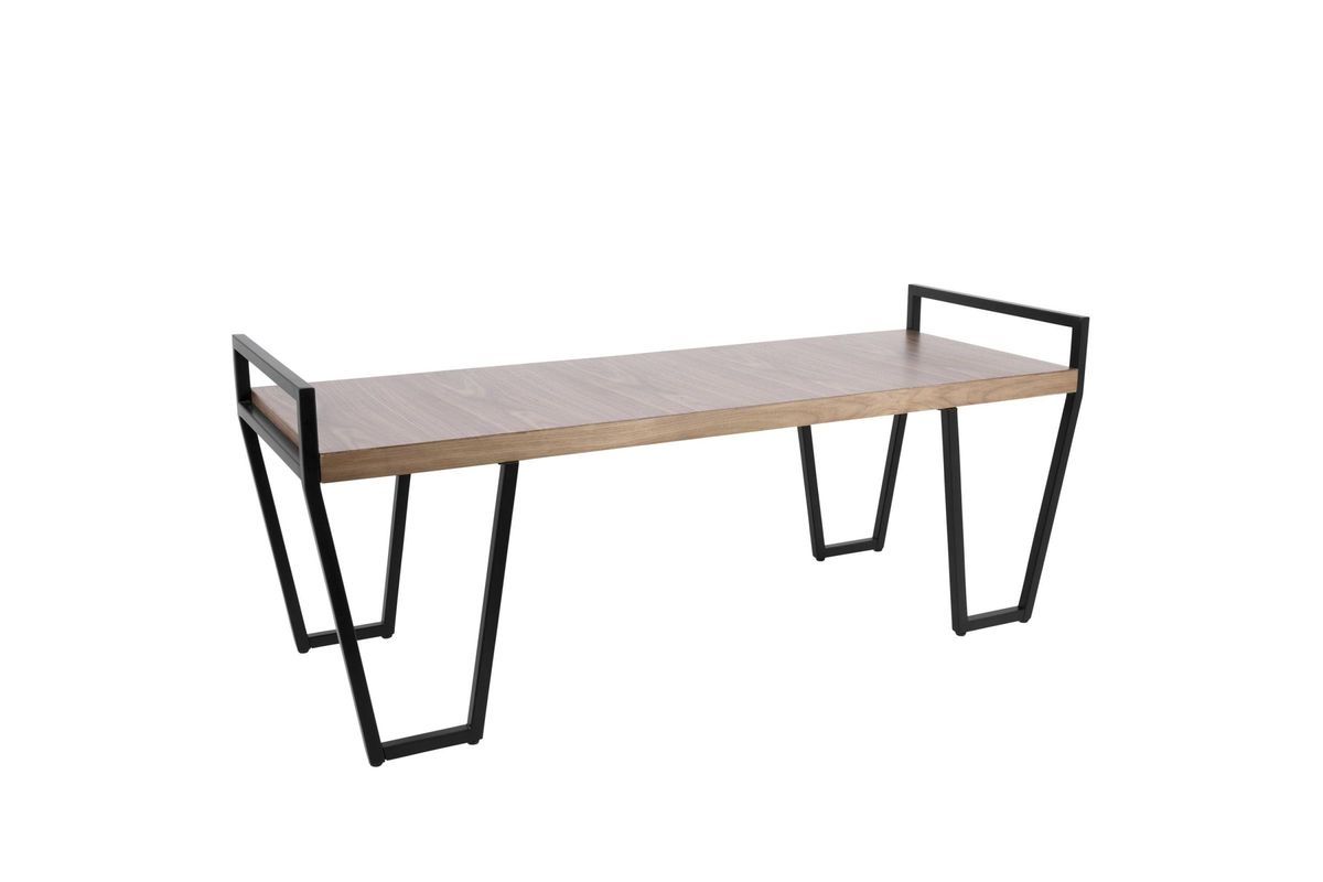 Julien Industrial Bench in Black and Walnut by LumiSource from Gardner-White Furniture