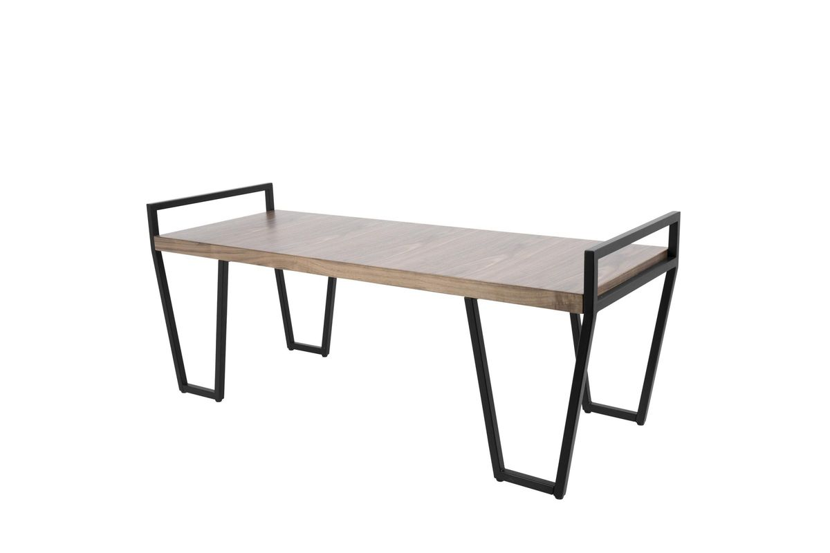 Julien Industrial Bench In Black And Walnut By Lumisource