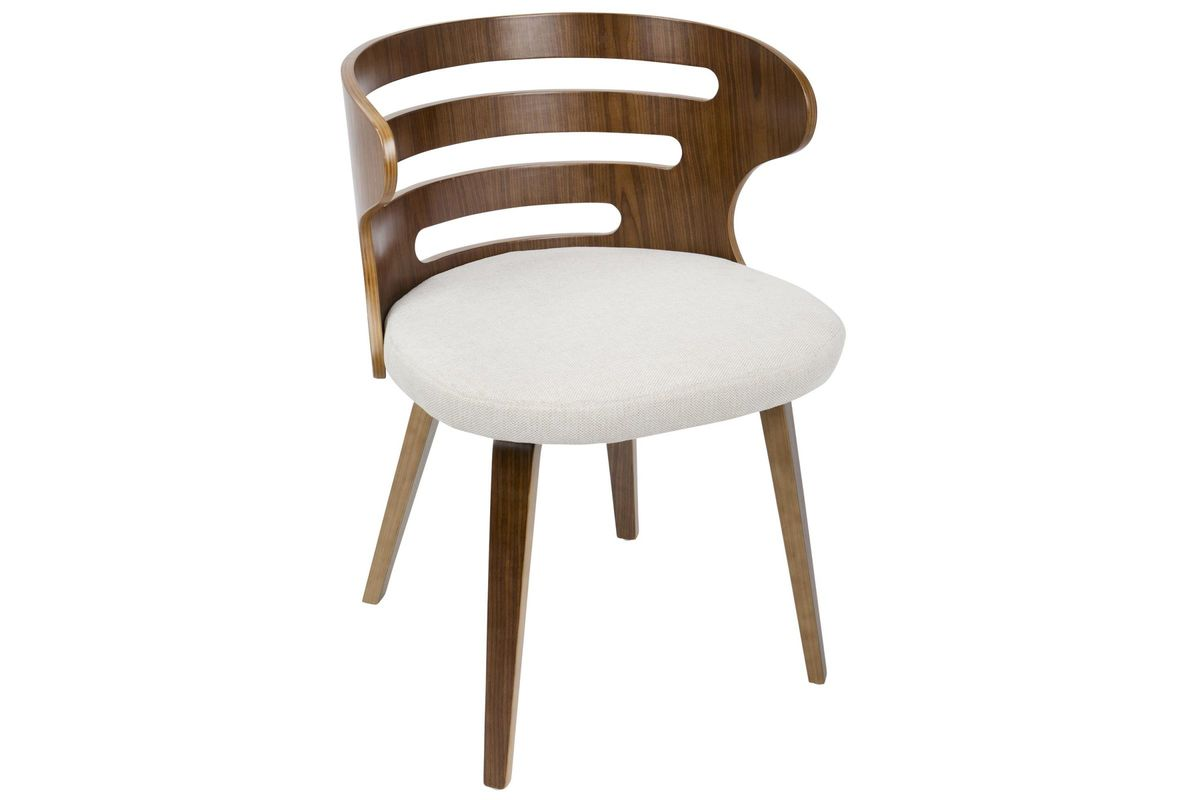 Cosi Mid Century Modern Dining Chair In Walnut And Cream By