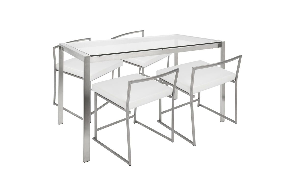 Fuji Contemporary Dining Set in Stainless Steel and White by LumiSource from Gardner-White Furniture