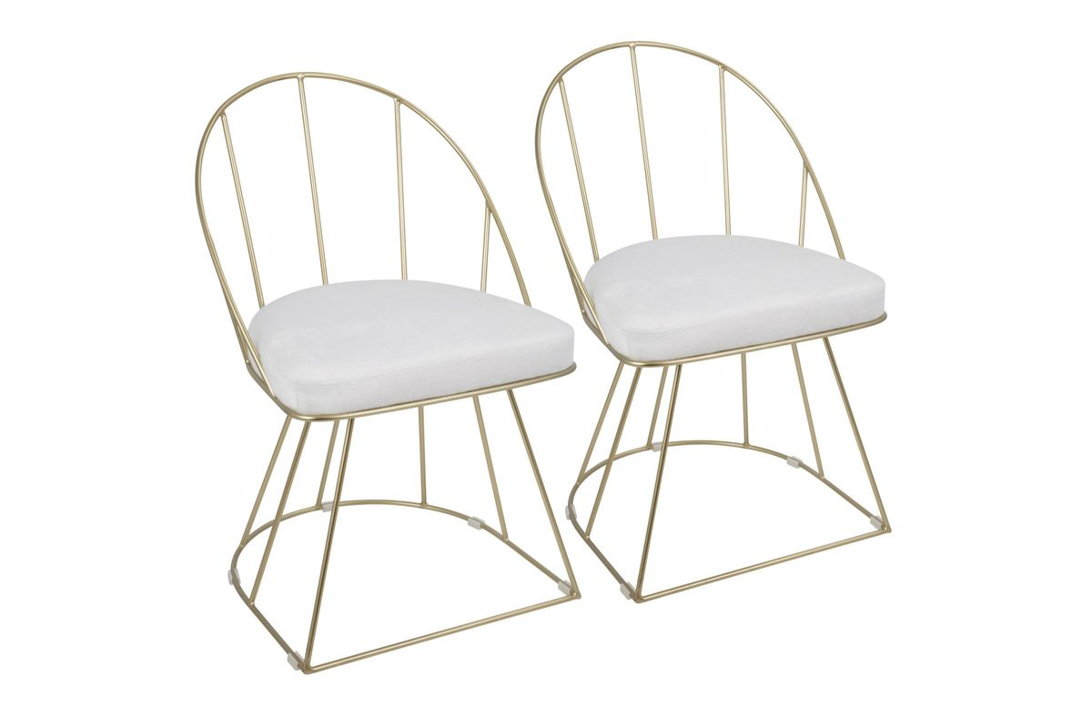 Canary Contemporary Dining Chairs (Set Of 2) In Gold And White Velvet By  LumiSource