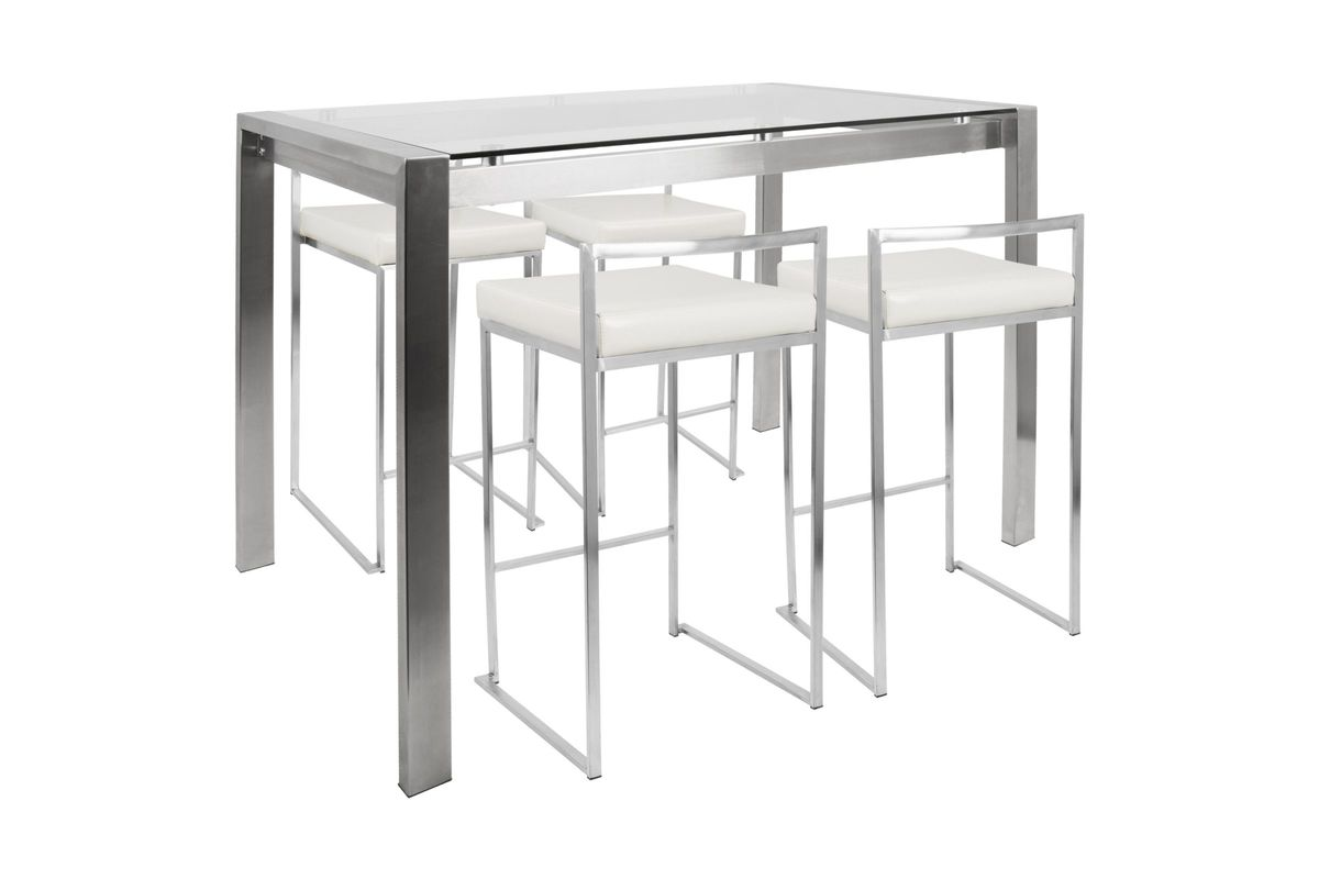 Fuji Contemporary Counter Height Dining Set in Stainless Steel and White by LumiSource from Gardner-White Furniture