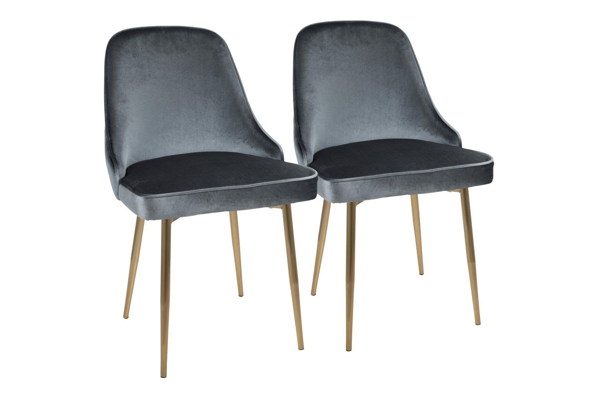 Superbe Marcel Contemporary Dining Chairs (Set Of 2) In Blue Velvet And Gold By  LumiSource