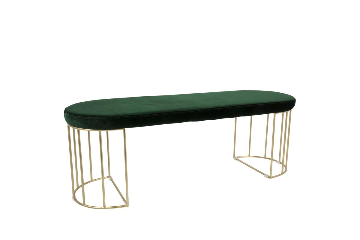 Canary Contemporary Bench in Gold and Green Velvet by LumiSource from Gardner-White Furniture