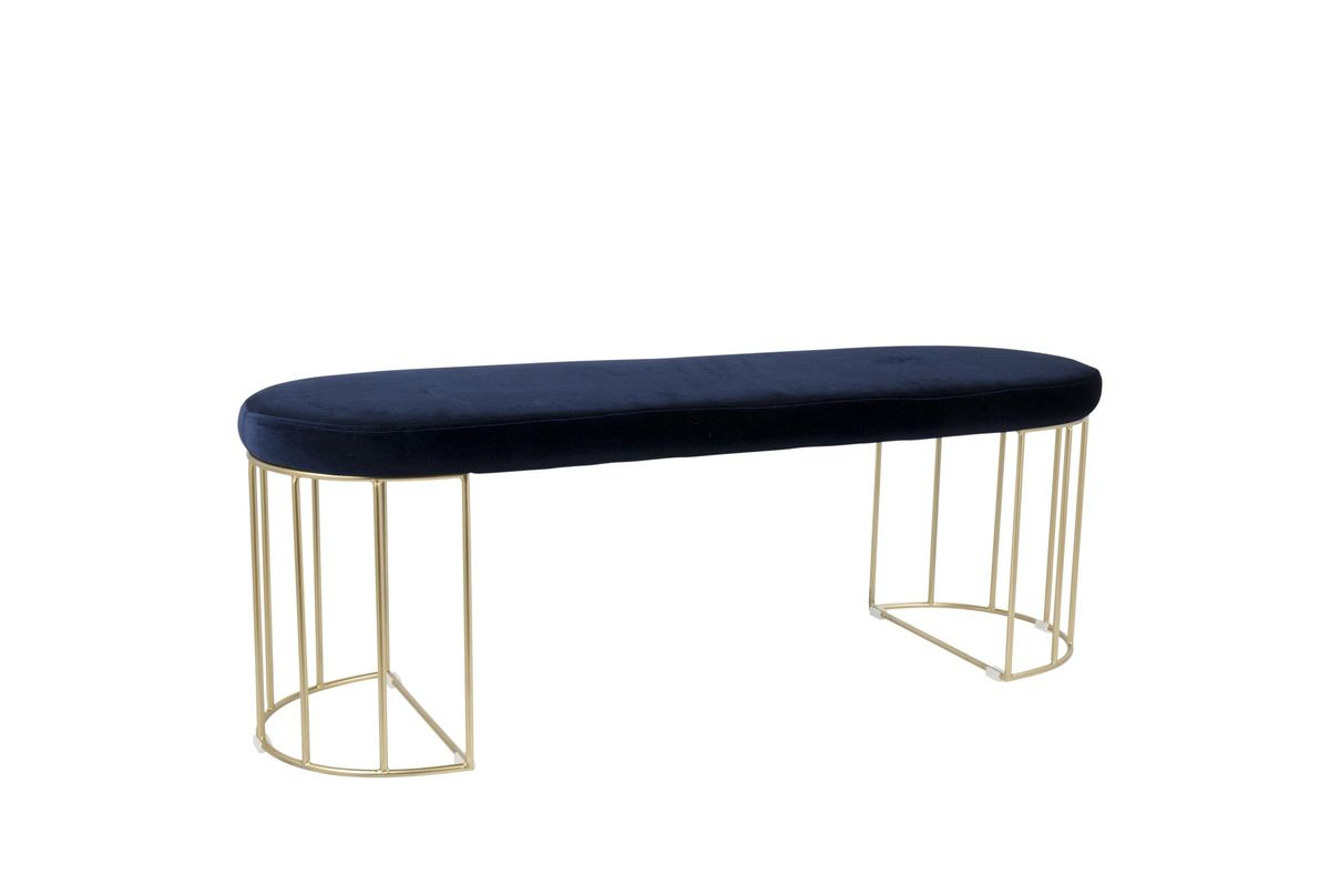 Canary Contemporary Bench in Gold and Blue Velvet by LumiSource from Gardner-White Furniture