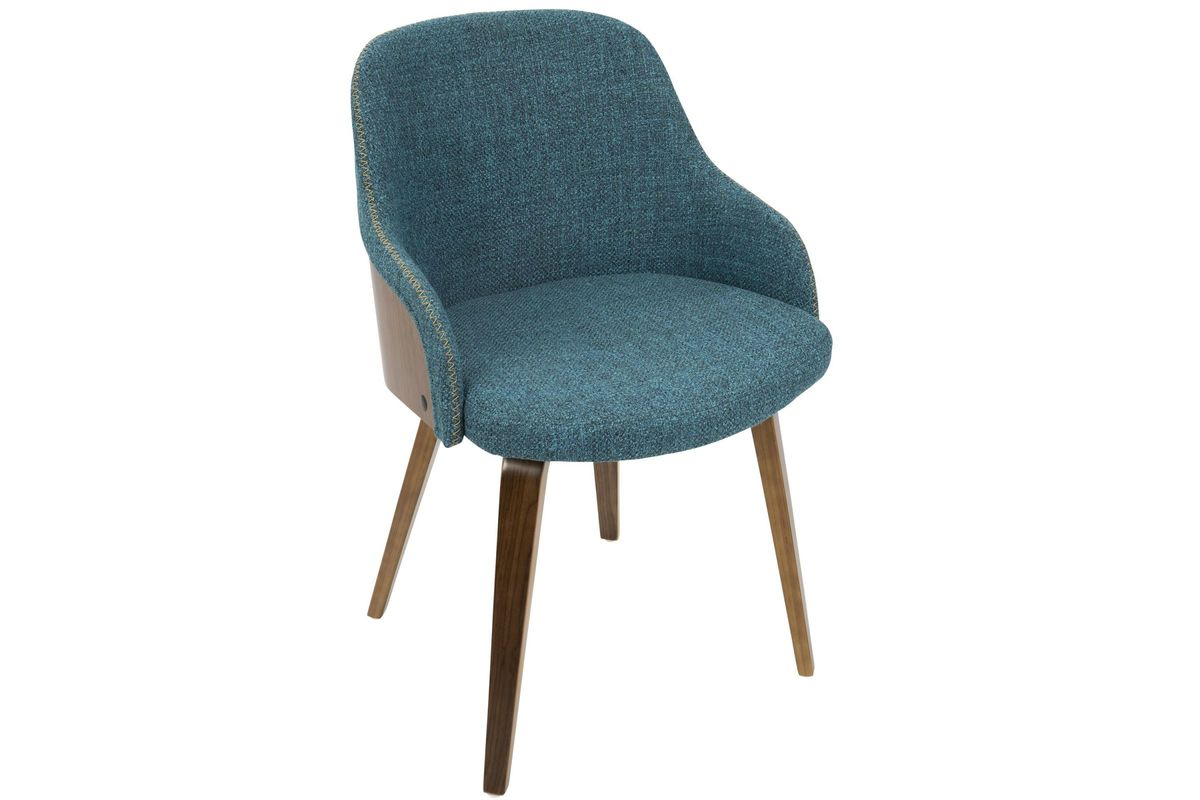 Marvelous Bacci Mid Century Modern Accent Chair In Walnut And Teal By Lumisource Lamtechconsult Wood Chair Design Ideas Lamtechconsultcom