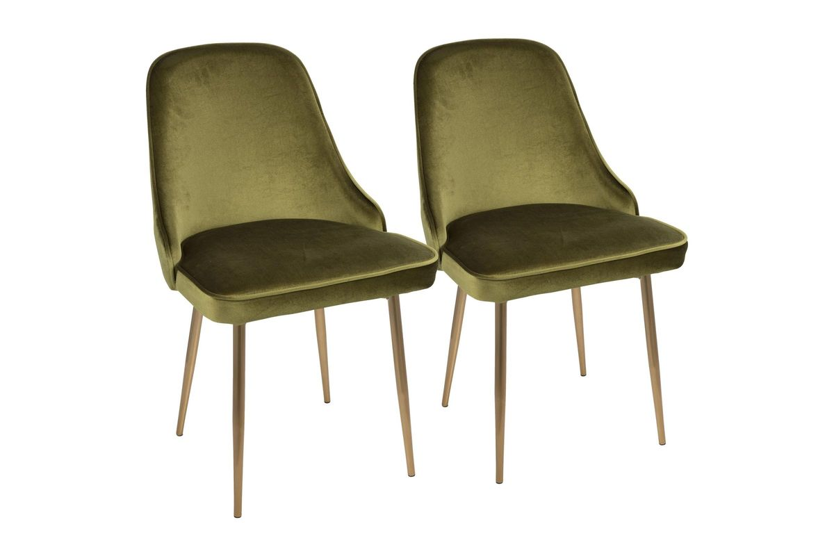 Marcel Contemporary Dining Chairs Set Of 2 In Green