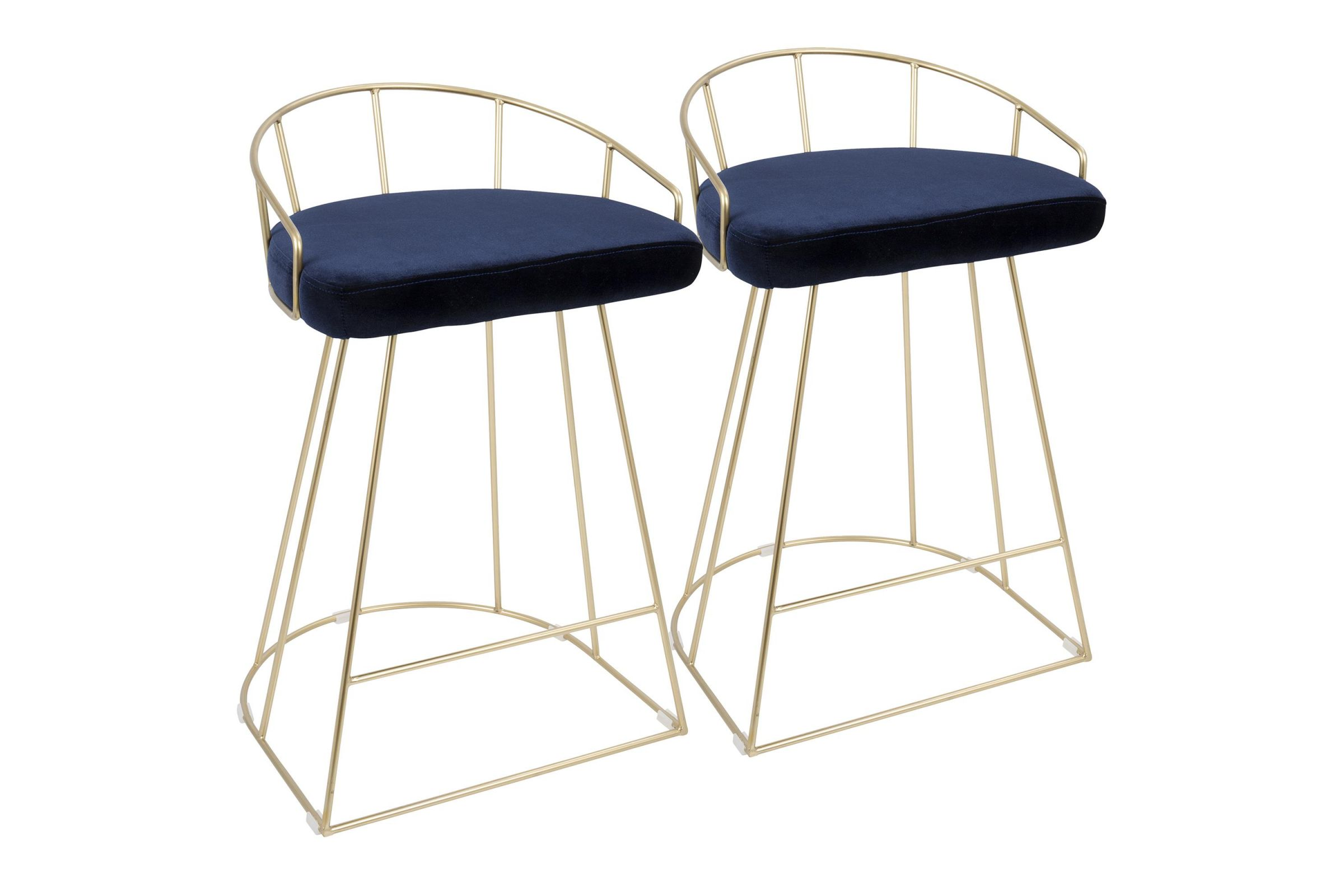 Strange Canary Contemporary 26 Counter Stools Set Fo 2 In Gold And Blue Velvet By Lumisource Gmtry Best Dining Table And Chair Ideas Images Gmtryco
