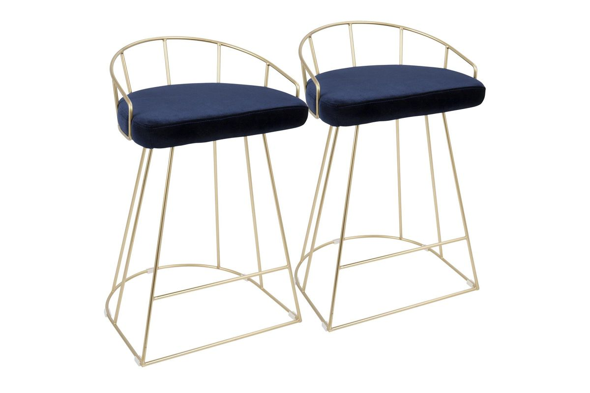 Tremendous Canary Contemporary 26 Counter Stools Set Fo 2 In Gold And Blue Velvet By Lumisource Alphanode Cool Chair Designs And Ideas Alphanodeonline