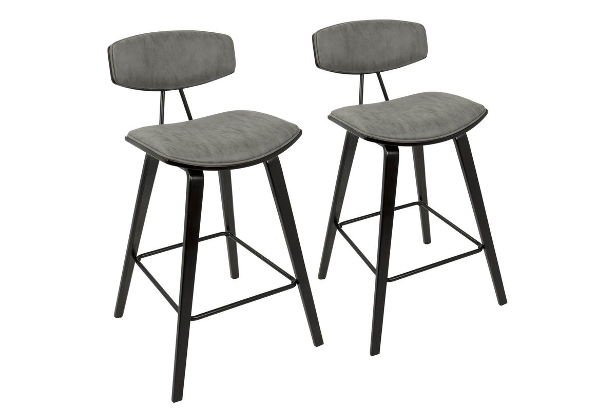 Fabulous Damato 26 Mid Century Modern Counter Stools Set Of 2 In Espresso With Grey By Lumisource Squirreltailoven Fun Painted Chair Ideas Images Squirreltailovenorg