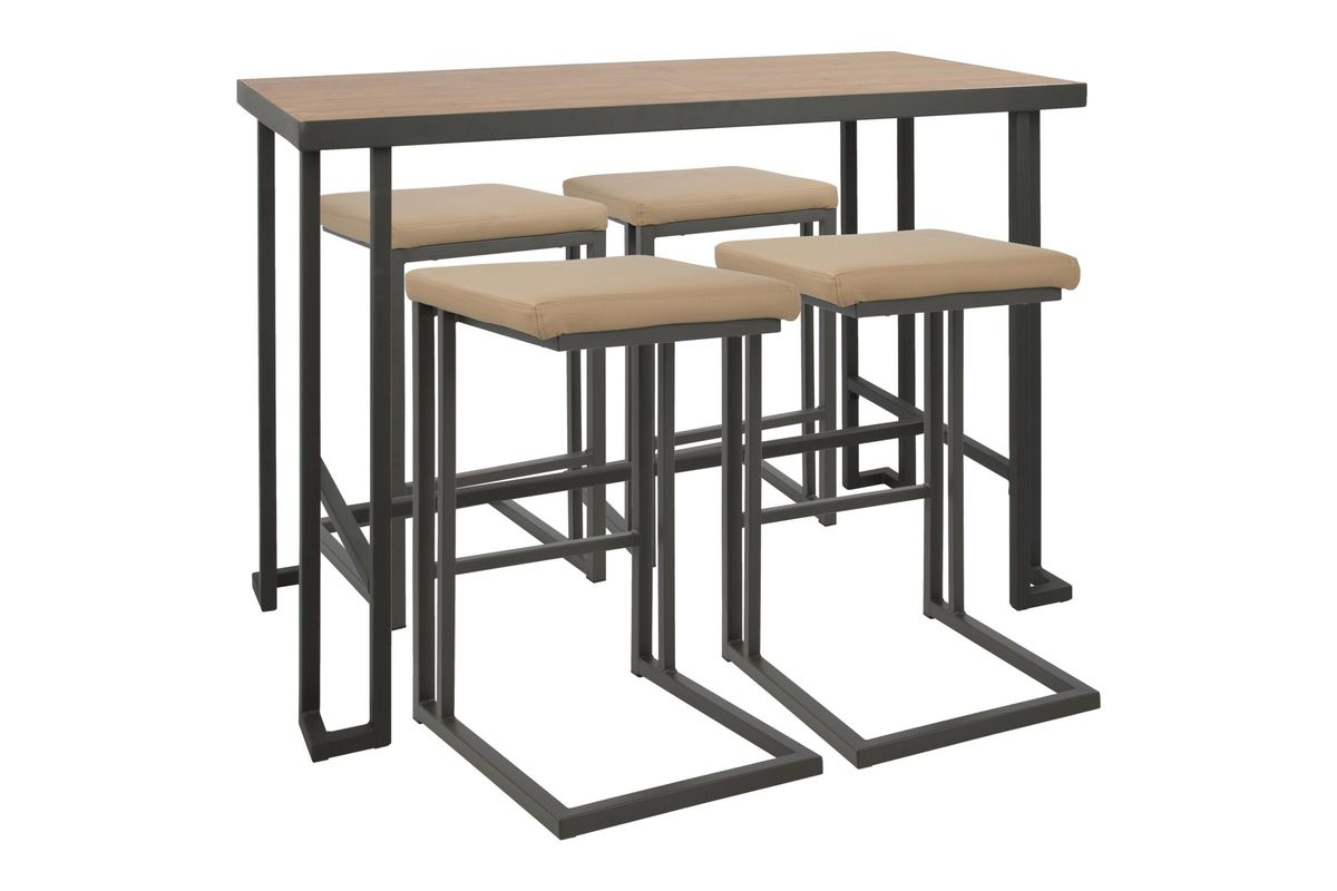 Roman 5 Piece Industrial Counter Height Dining Set In Grey And Camel By  LumiSource From Gardner