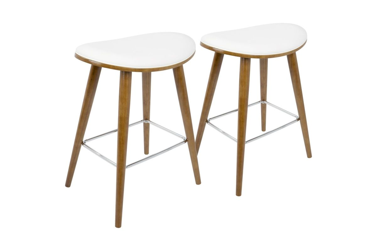 Saddle 26 mid century modern counter stools set of 2 in walnut and white by lumisource - Saddle style counter stools ...