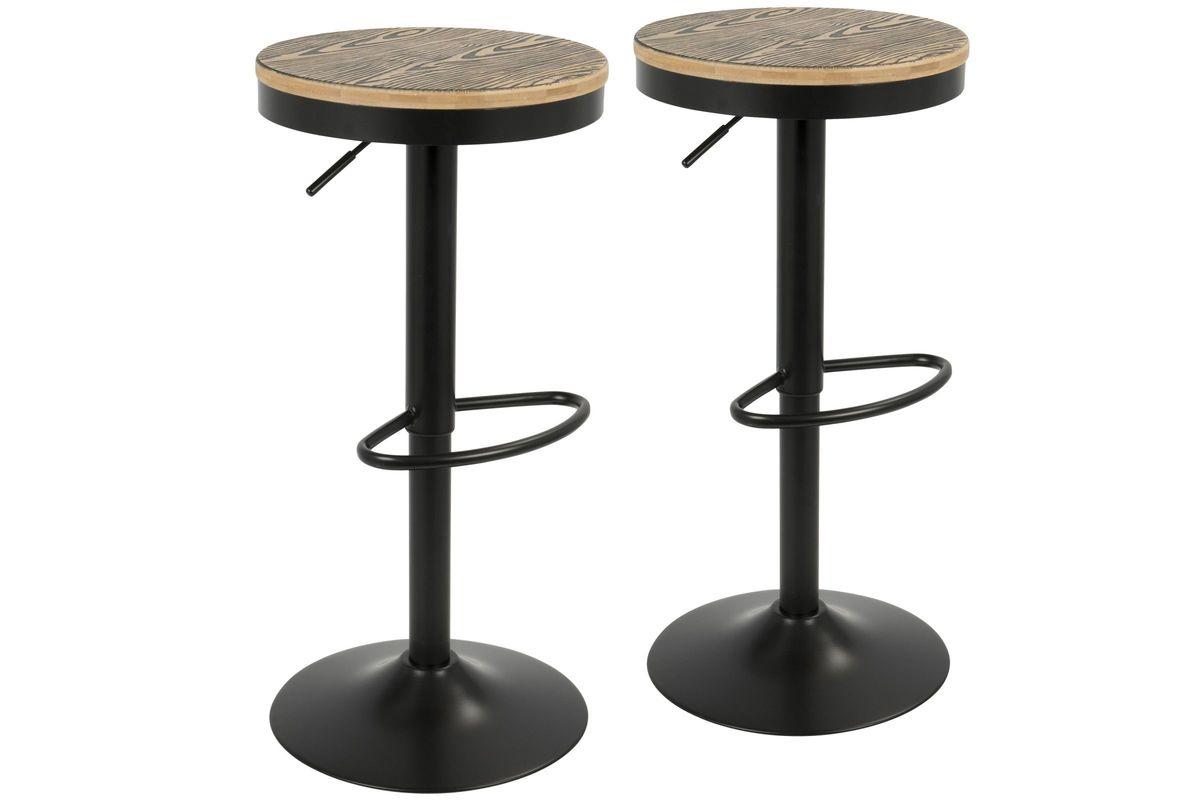 Dakota Industrial Adjustable Bar Stools Set Of 2 With