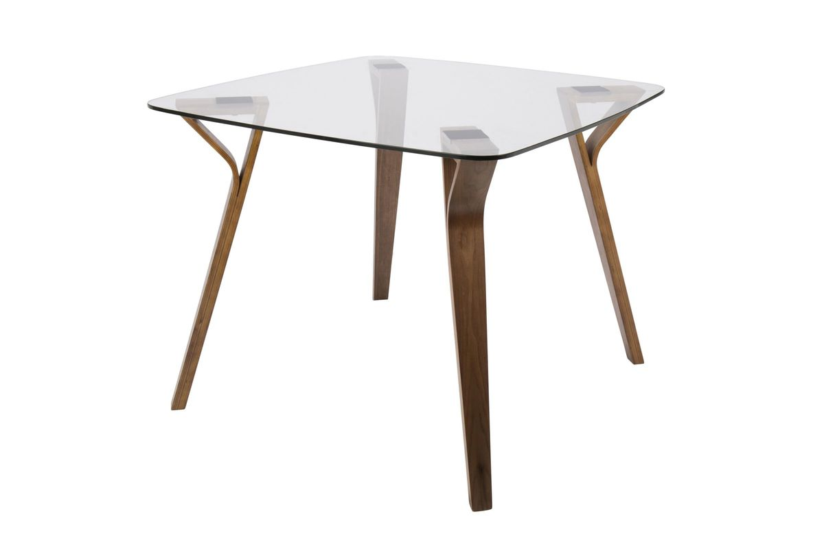 Folia MidCentury Modern Dining Table In Walnut And Glass By LumiSource - Mid century square dining table