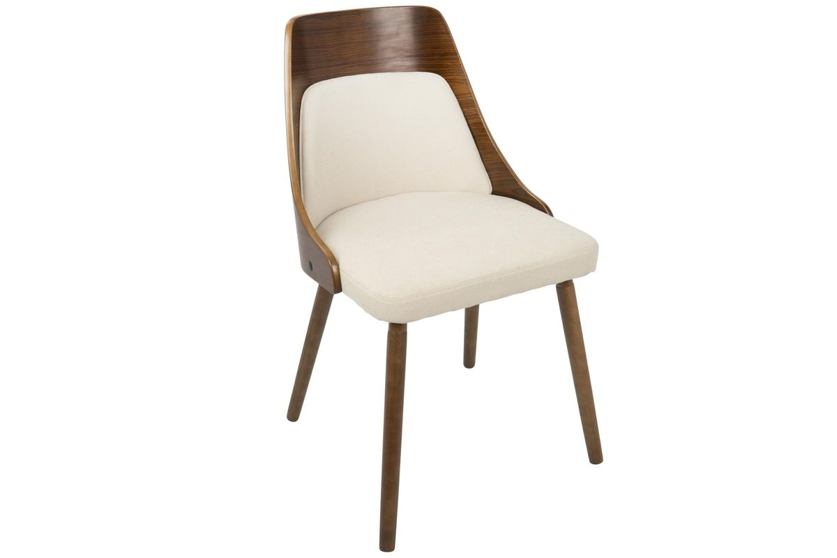 Anabelle Mid Century Modern Dining Chair In Walnut And Cream By