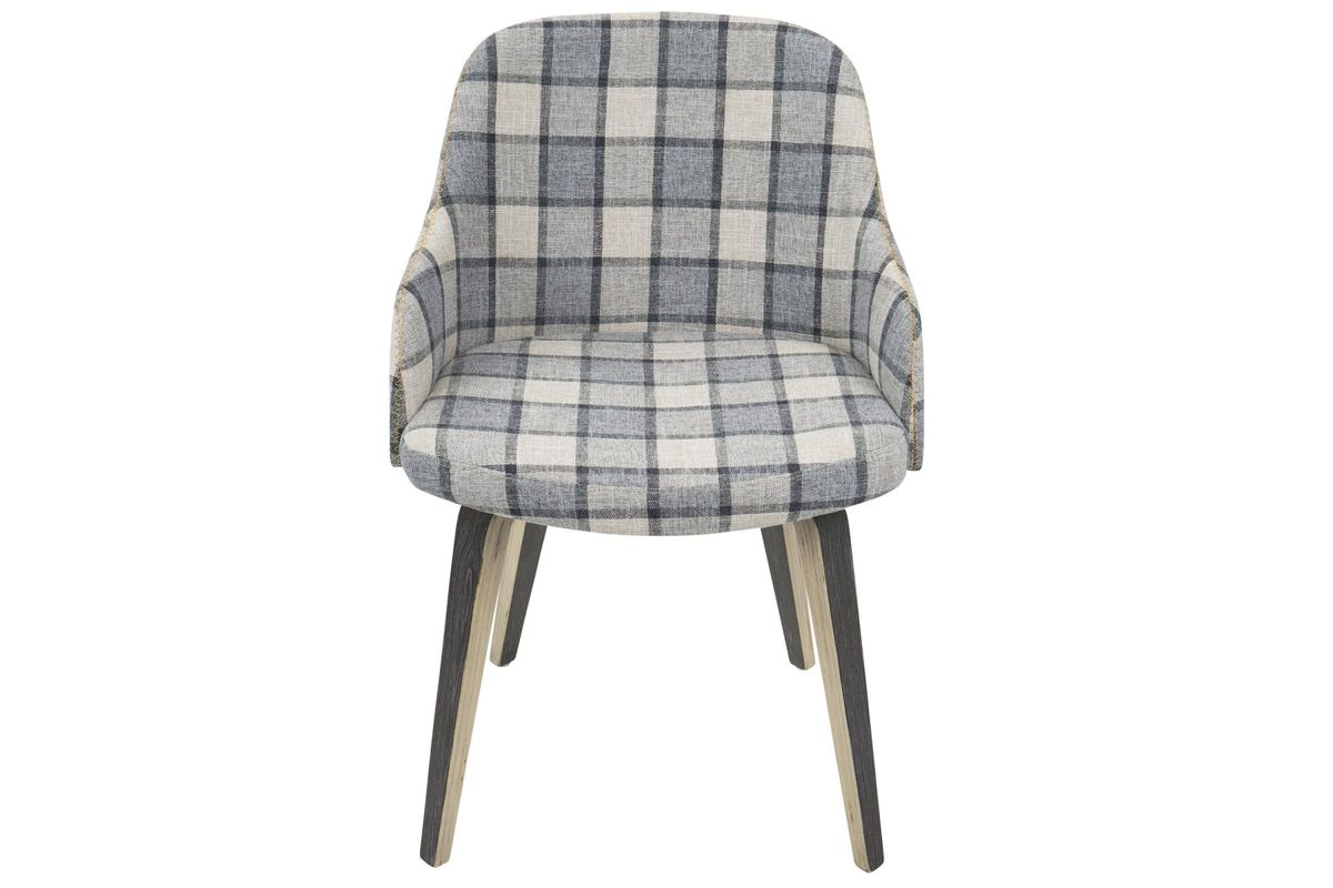 Bacci Mid Century Modern Accent Chair In Grey Plaid By