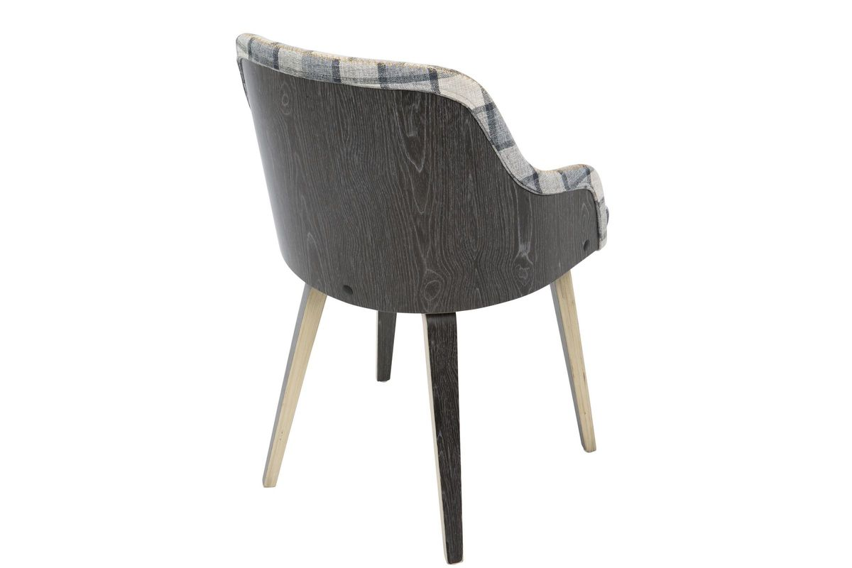 bacci mid century modern accent chair in grey plaid by. Black Bedroom Furniture Sets. Home Design Ideas